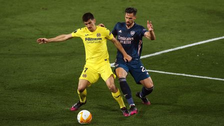 Villarreal's Moreno Gerard (left) and Arsenal's Pablo Mari battle for the ball during the UEFA Europ