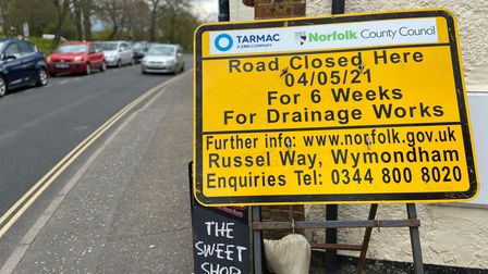 These signs advertising the works have been criticised by Michelle Fernandes from Wardrobes of Wymondham.