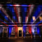 The union flag colours projected onto 10 Downing Street