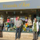 At arc in Axminster are shop manager Jess Kielen, left, treasurer Gareth Pratt and shop manager Tania Young