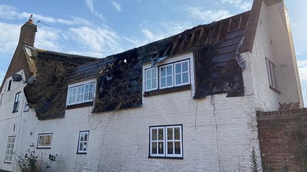 Thatched house fire Martham