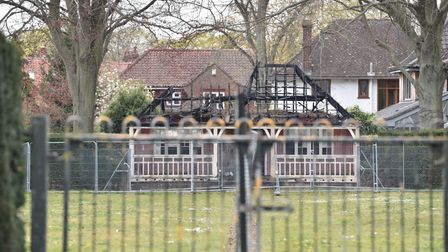 The fire damaged tennis pavilion in Heigham Park is still standing since the fire in 2019Byline: So