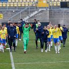 Torquay United show appreciation to their supporters watching online after the final whistle during