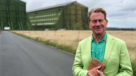 Michael Portillo at the Cardington Airship Sheds in episode 8 of Great British Railway Journeys.