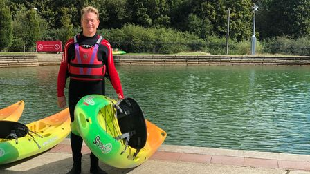 Michael Portillo at Lee Valley White Water Centre during series 12 of Great British Railway Journeys.
