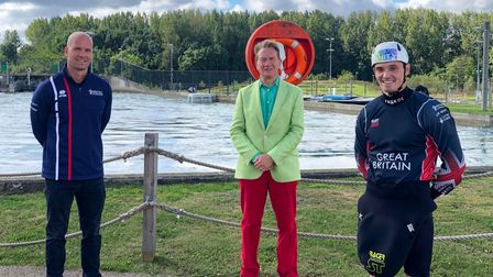 Michael Portillo with Richard Hounslow and Bradley Forbes-Cryans at Lee Valley White Water Centre