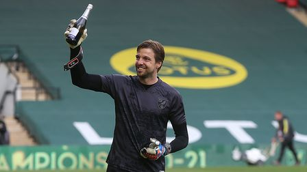 Tim Krul of Norwich at the end of the Sky Bet Championship match at Carrow Road, NorwichPicture by