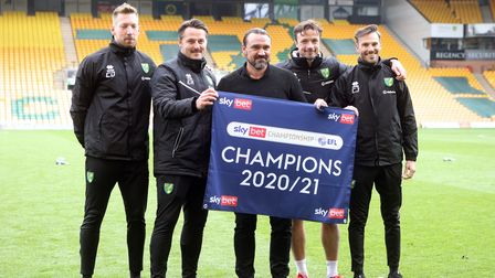 Norwich Head Coach Daniel Farke and his management team at the end of the Sky Bet Championship match