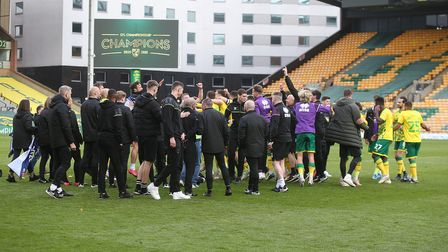 The Norwich players at the end of the Sky Bet Championship match at Carrow Road, NorwichPicture by