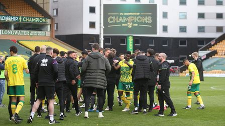 The Norwich players celebrate at the end of the Sky Bet Championship match at Carrow Road, NorwichP