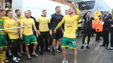 Emiliano Buendia of Norwich dances in celebration at the end of the Sky Bet Championship match at Ca