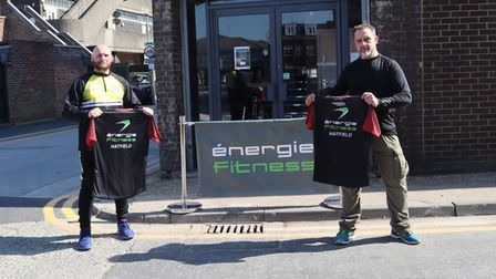 Hatfield Town FC chairman John Shearer with Jason Lombard of Hatfield energie fitness