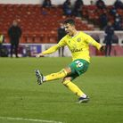 Dimitris Giannoulis of Norwich has a shot on goal during the Sky Bet Championship match at the City