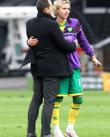 Sporting director Stuart Webber hugs Todd Cantwell after Norwich City had sealed Championship promotion