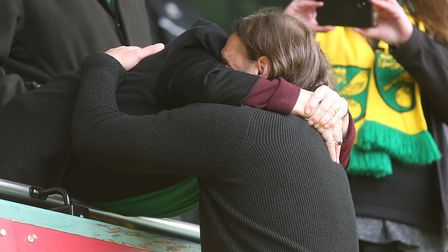 Daniel Farke is embraced by joint majority shareholder Delia Smith after plotting another Norwich City title triumph