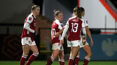 Arsenal's Kim Little (centre) celebrates scoring their side's second goal of the game during the FA