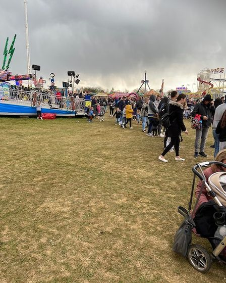Long queue for bouncy castle at the Funderworld attraction at Norfolk Showground.