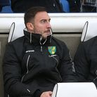 Josip Drmic of Norwich, Dennis Srbeny of Norwich and Moritz Leitner of Norwich before the Premier Le