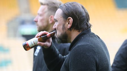 Norwich Head Coach Daniel Farke at the end of the Sky Bet Championship match at Carrow Road, Norwich