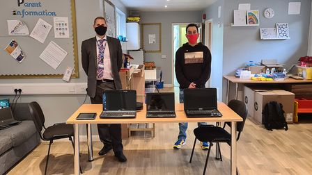Littletown Primary Academy headmaster David Perkins, left, and Luke Dolby of Honiton's Tech Shop