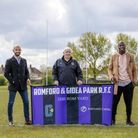 Portland Capital Director, Romain Palpacuer, and Rugby Club President, Dai Davies, andMartin Offiah