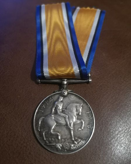 The medal belonging to Long Melford born soldier, Harry Rising.