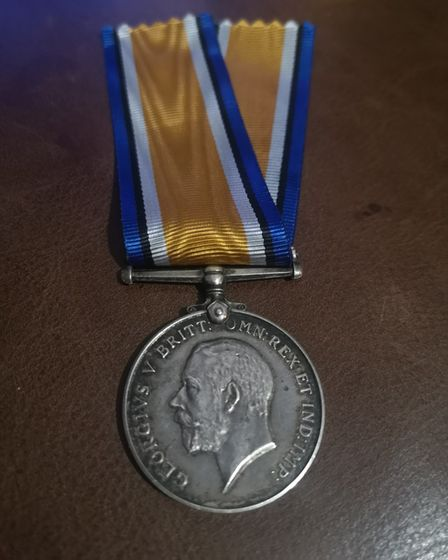 Harry Rising's medal, which was reunited with his family with the help of Ipswich postman Adam Simpson-York.