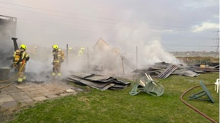 Two horses died after a fire which destroyed a stable block in Hall Lane, Upminster.