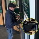 Steven Ifield, 52, of Park Lane, Hornchurch points an imitation gun (right) at bank staff during a 2019 raid