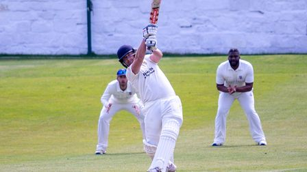 Ryan Thorpe hits out on his way to a half-century for Clevedon at Bath