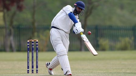 A Rainham batsman hits six runs against South Woodford