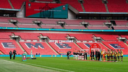 Consett and Hebburn Town players line up prior to the FA Vase final