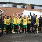 The Norwich players celebrate with the fans after the Sky Bet Championship match at Carrow Road, Nor