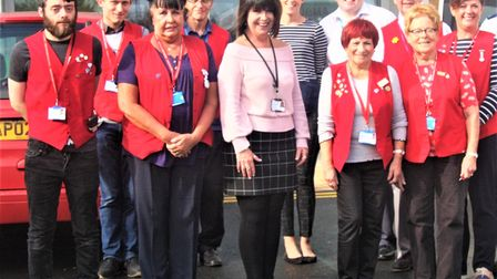 Sally Dyson with volunteers pictured before the pandemic.