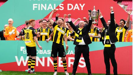 Hebburn Town celebrate winning the FA Vase final.