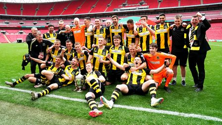 Hebburn Town players and staff celebrate winning the FA Vase