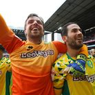 Mario Vrancic celebrates Norwich City's previous Championship title success with Tim Krul