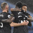 West Ham United's Vladimir Coufal (left), Michail Antonio (centre) and Jesse Lingard celebrate after