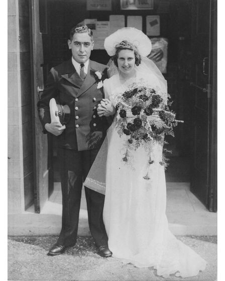 Myrtle Ward and husband Eric on their wedding day in Summerstown, near Tooting, London, on Sunday, July 27 1941.