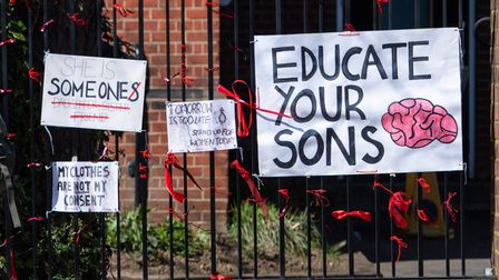 Signs outside James Allen's Girls' School, in south east London, in the aftermath of allegations of