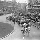 King George V and Queen Mary arrive for the opening of the parliament of Northern Ireland in Belfast