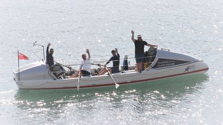 Thecrew returning to the river Dart from theEddystoneLighthouse.