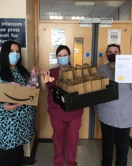 Kylie Dorling and Laura Leathers donated care packages to Ipswich Hospital maternity unit