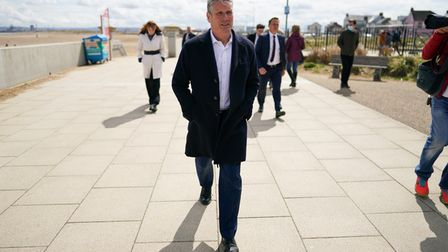 Labour leader Keir Starmer on a walkabout as they visit Seaton Carew seafront while on the election