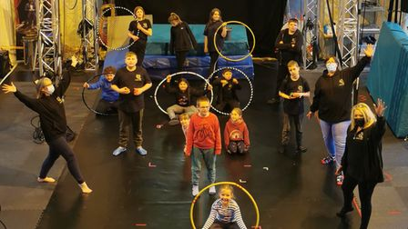 A circus session taking place for children at Oak Circus in Norwich