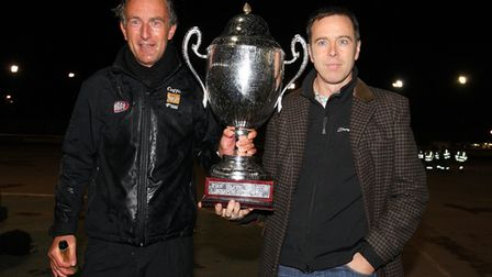 Jon Cook (left) and Stuart Douglas celebrate Lakeside Hammers' victory in the KO Cup Final in 2009 (