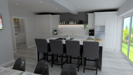 Spacious kitchen with island designed by Premiere Klasse