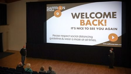 Saffron Screen shows a Welcome Back message on screen for customers