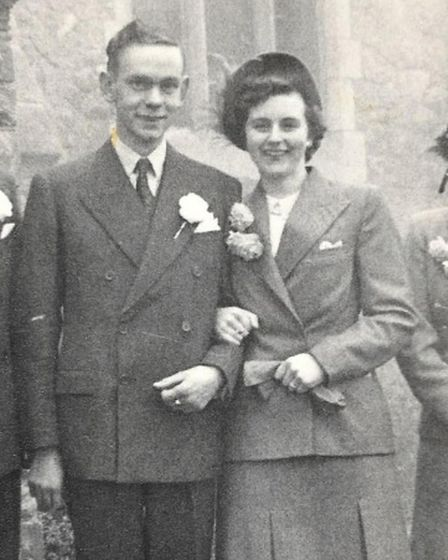 Adelaide 'Scottie' Mobbs with Norman Mobbs on their wedding day November 1950