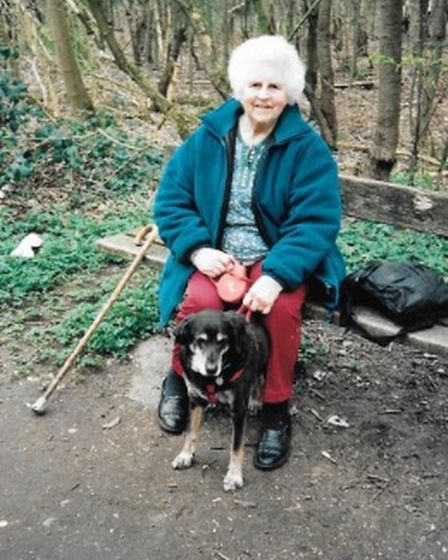 Adelaide 'Scottie' Mobbs with her dog William on Household Heath circa 2011